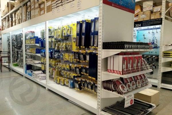 Sanitary display shelves supermarket
