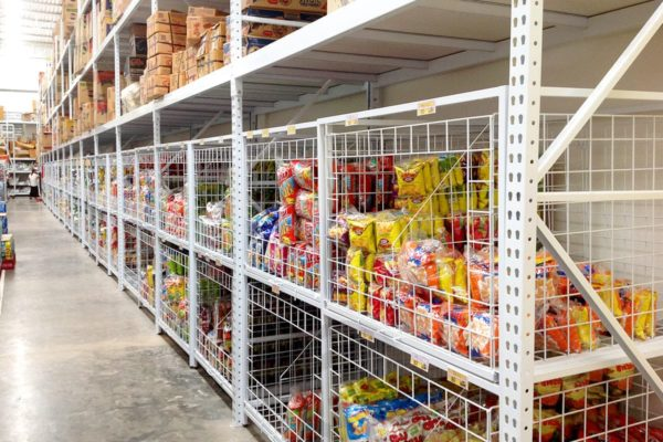 Ware house product shelves gondola