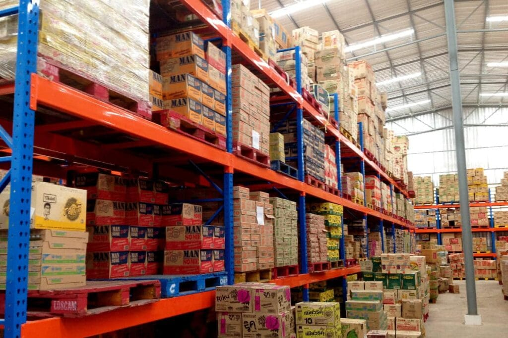 Ware house supermarket shelves
