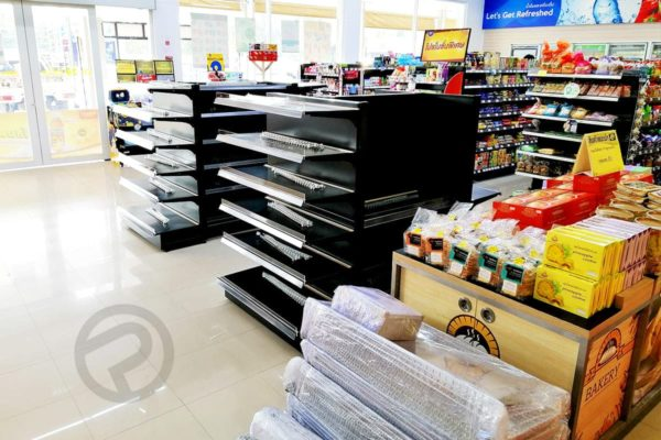 supermaket with for shelves